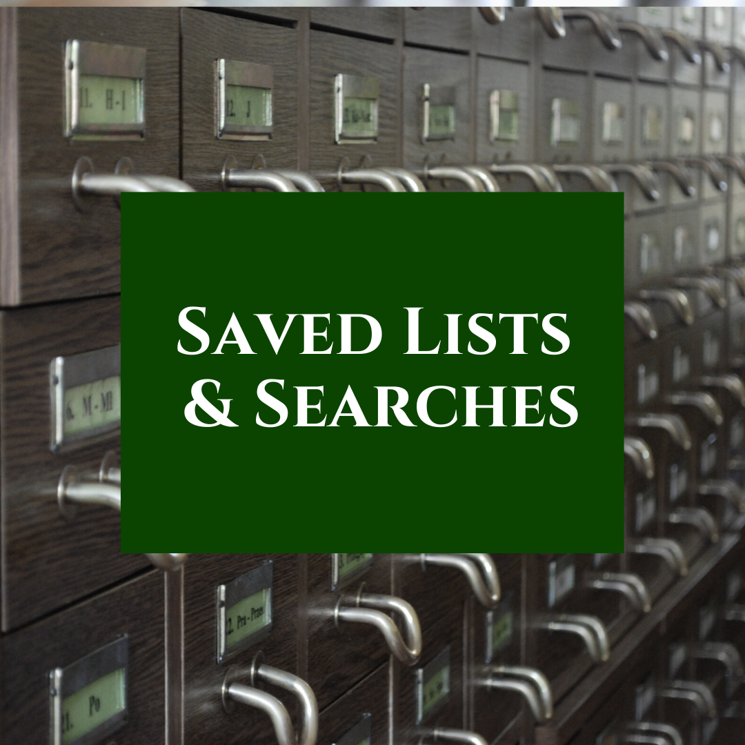 Create or view saved lists/searches of items you want to read/watch or listen to!