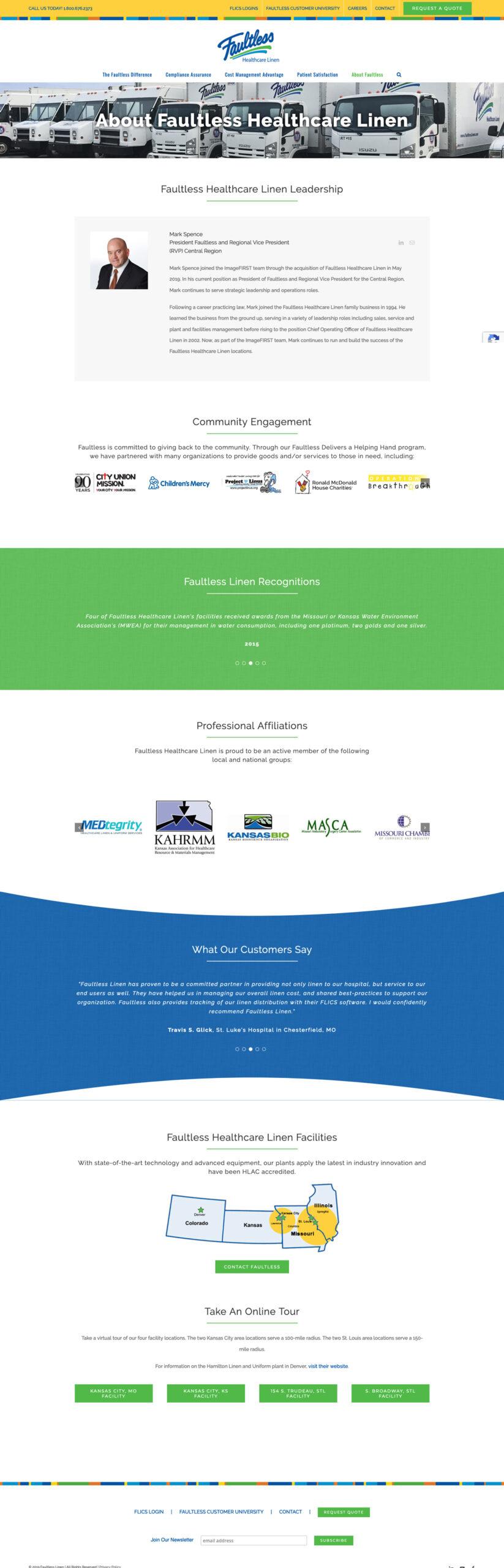 Company Website Design for Faultless Healthcare Linen - About Faultless Healtcare Linen
