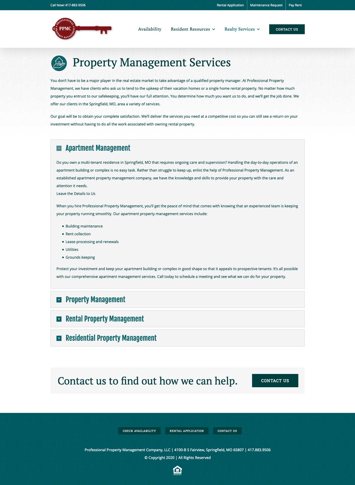 Customer Management System (CMS) Website Design for Professional Property Management Company
