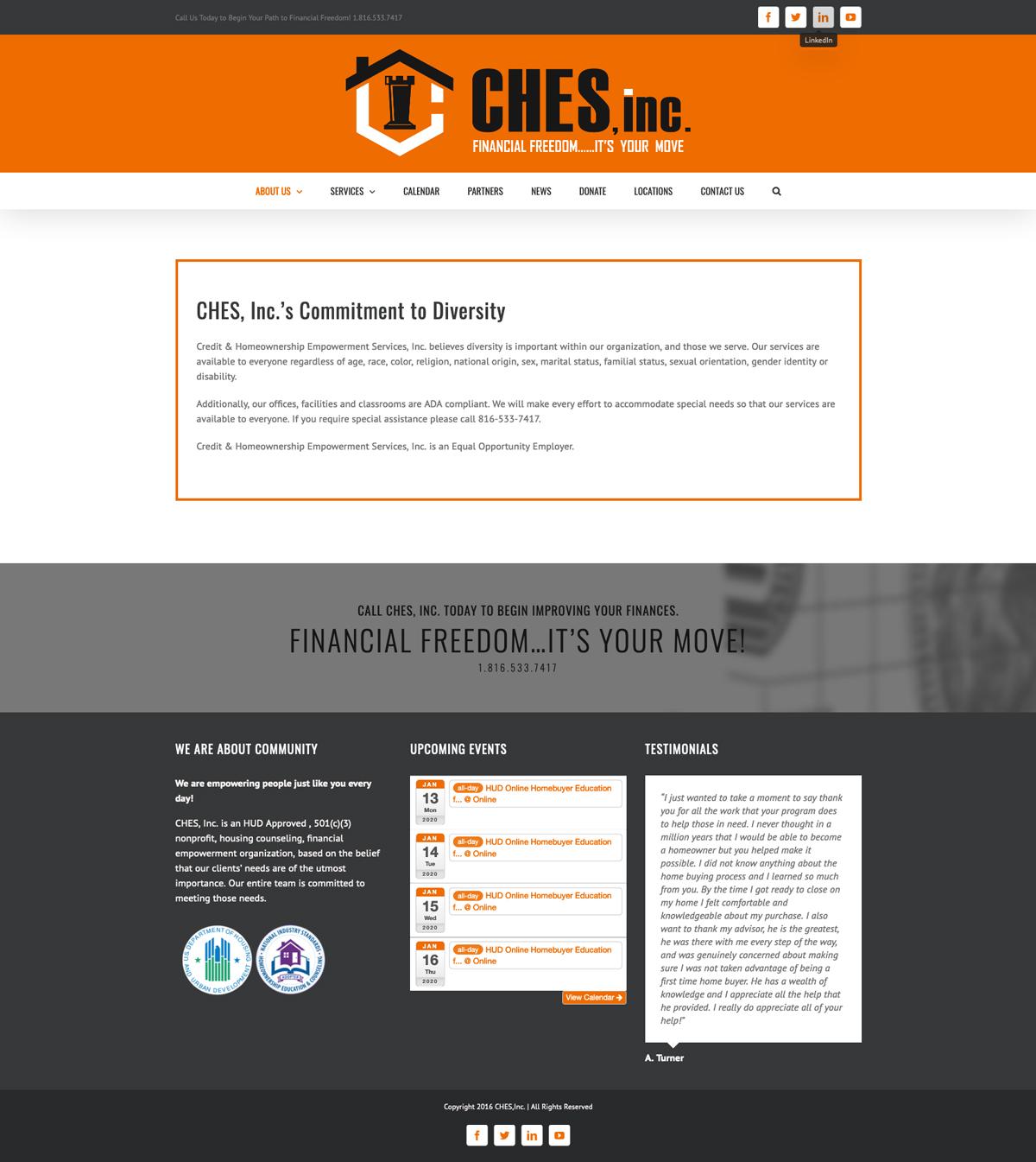 Ches, Inc Website Design by Corner Designs