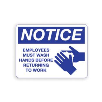 IS8001 – Employee's Must Wash Hands Notice Sign