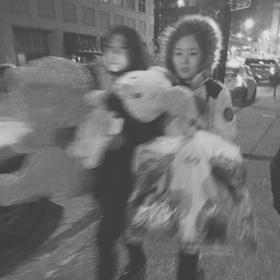 Girls walking in chicago