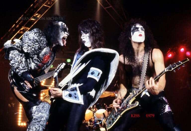 """GENE SIMMONS,ACE FREHLEY AND PAUL STANLEY OF 'KISS', ENTHRALL THE CROWD IN CHICAGO FOR THEIR 1979 """"DYNASTY"""" WORLD TOUR."""