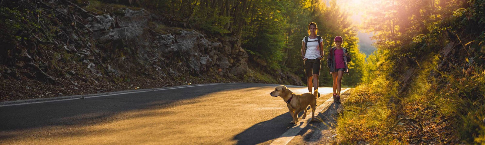 Mother and daughter walking by a roadway with a dog