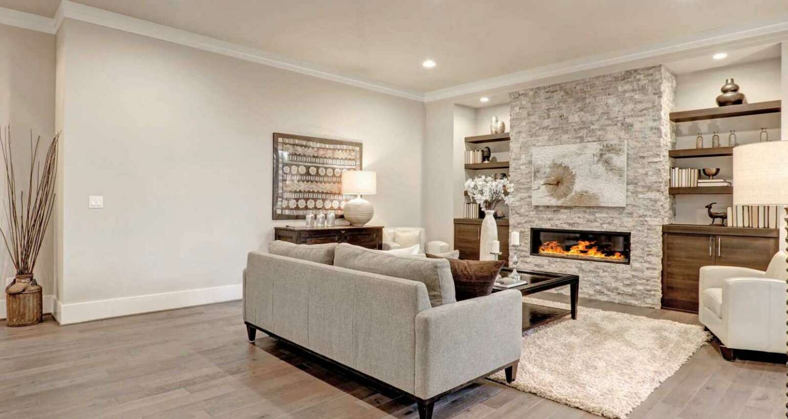 Interior Basement Painting with Wood Insert Finishings