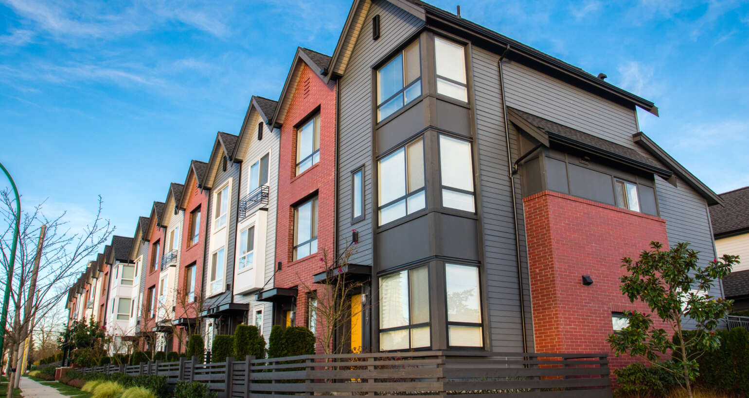 Multi-colored Townhomes