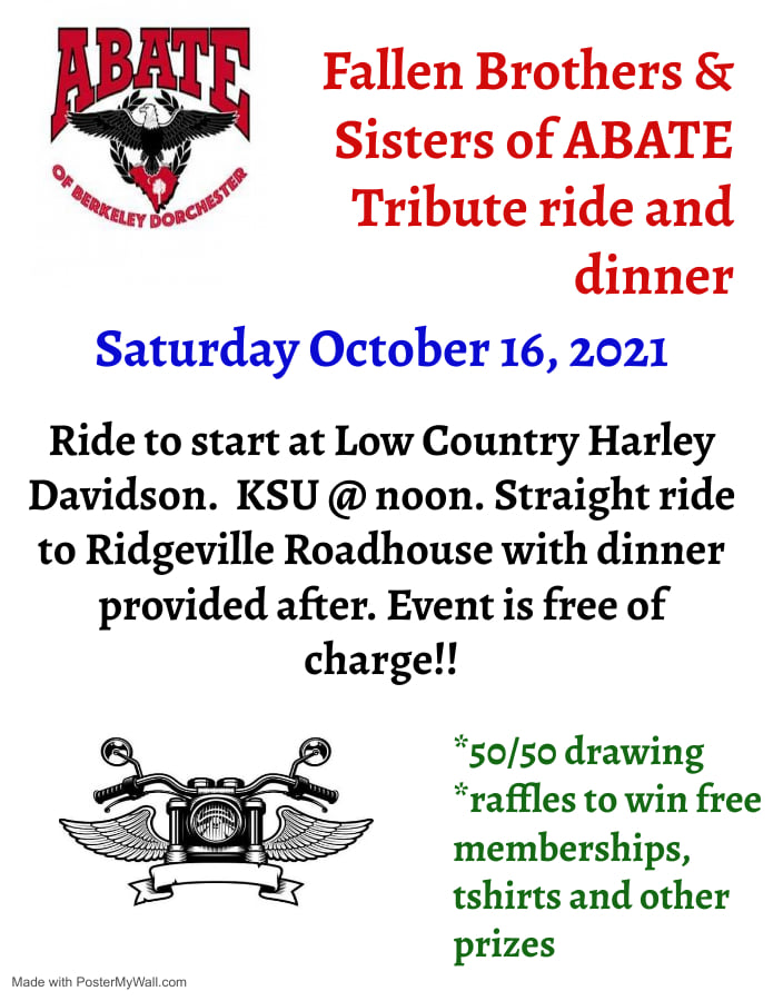 ABATE of Berkeley Dorchester – Tribute Ride and Dinner
