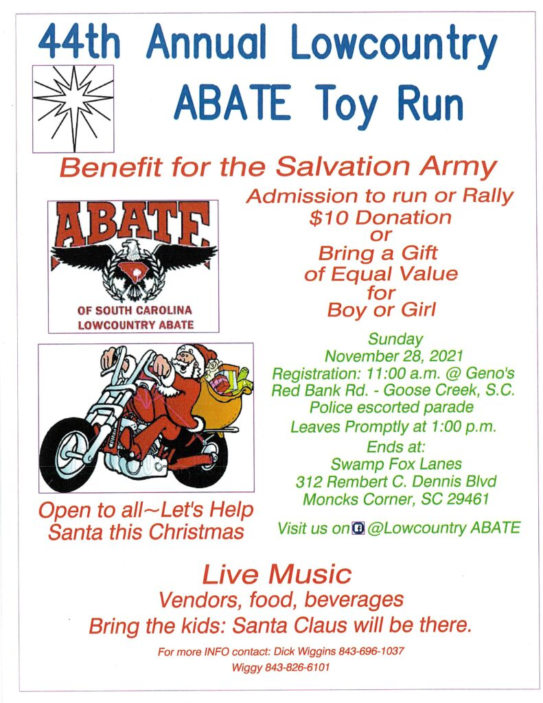 Low Country ABATE – 44th ANNUAL TOY RUN