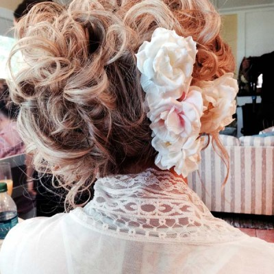 wedding hair up-do with flowers