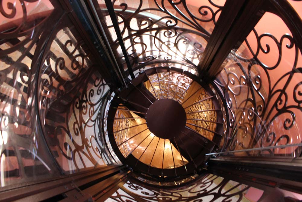 Ornate Scrolled Wrought Iron Bird Cage Home Elevator Ceiling Down view