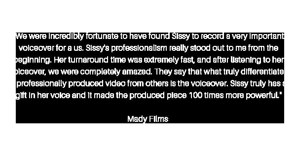 Sissy Siero Voiceover & Media Testimonial