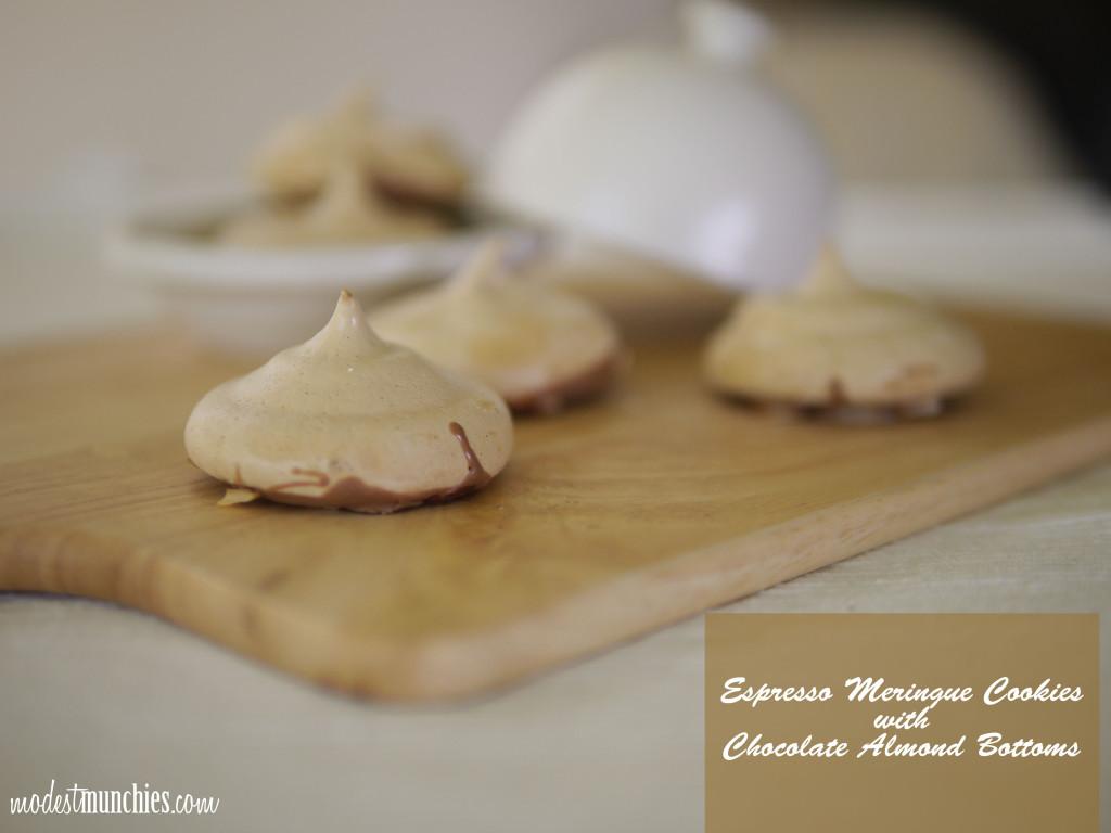 espresso meringue cookies with chocolate almond bottoms