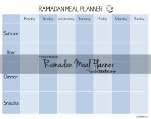 Free Printable Ramadan Meal Planner
