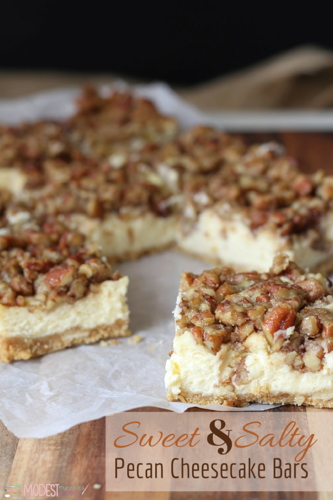 Sweet & Salty Pecan Cheesecake bars
