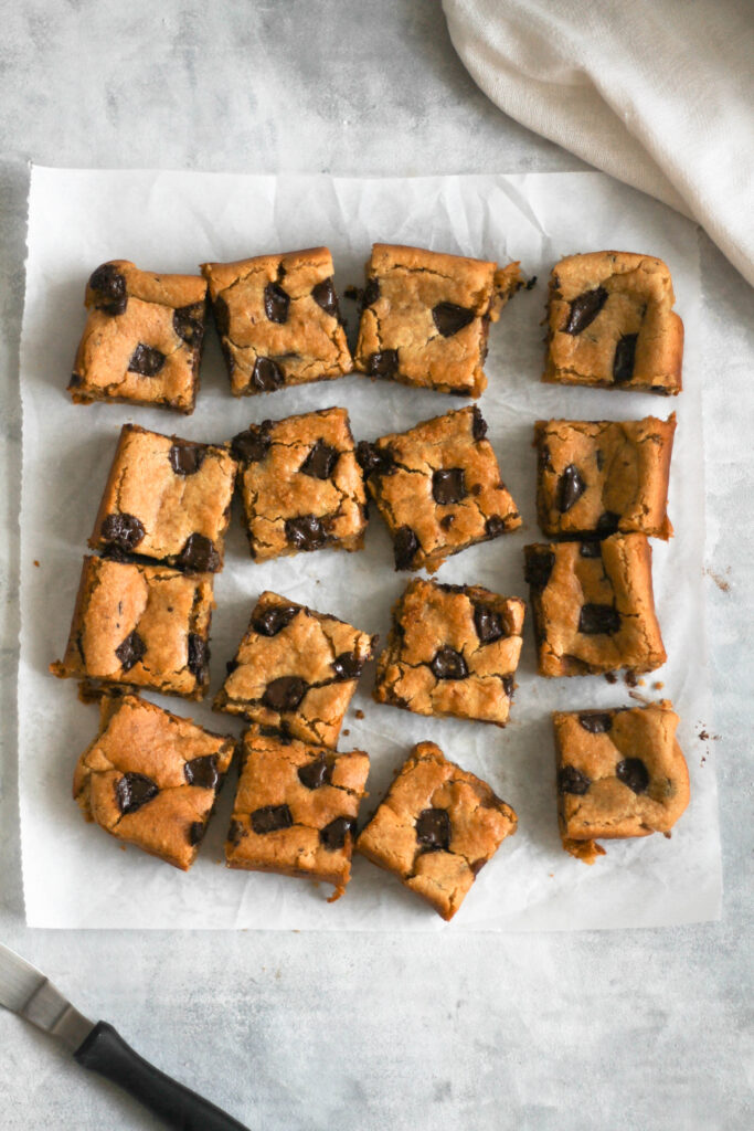 Chickpea blondies top view chopped into squares
