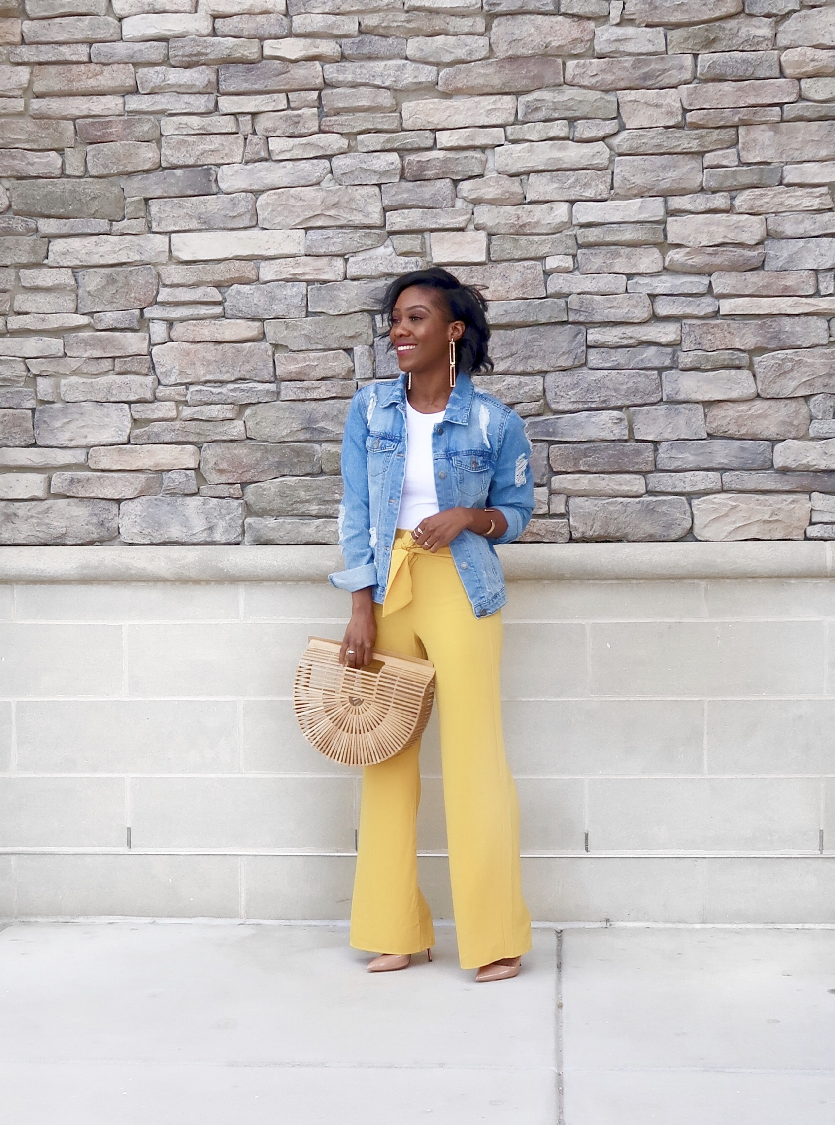 How to style denim jacket for work, You can recreate this style with pieces from your closet.