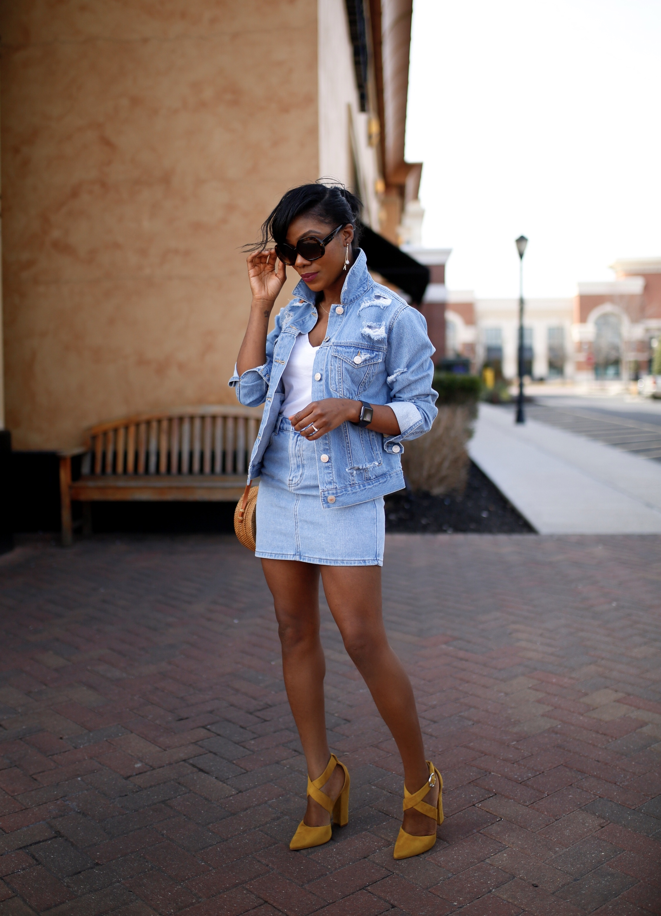 How to wear denim on denim, ways to style your favorite denim jacket with denim skirt.