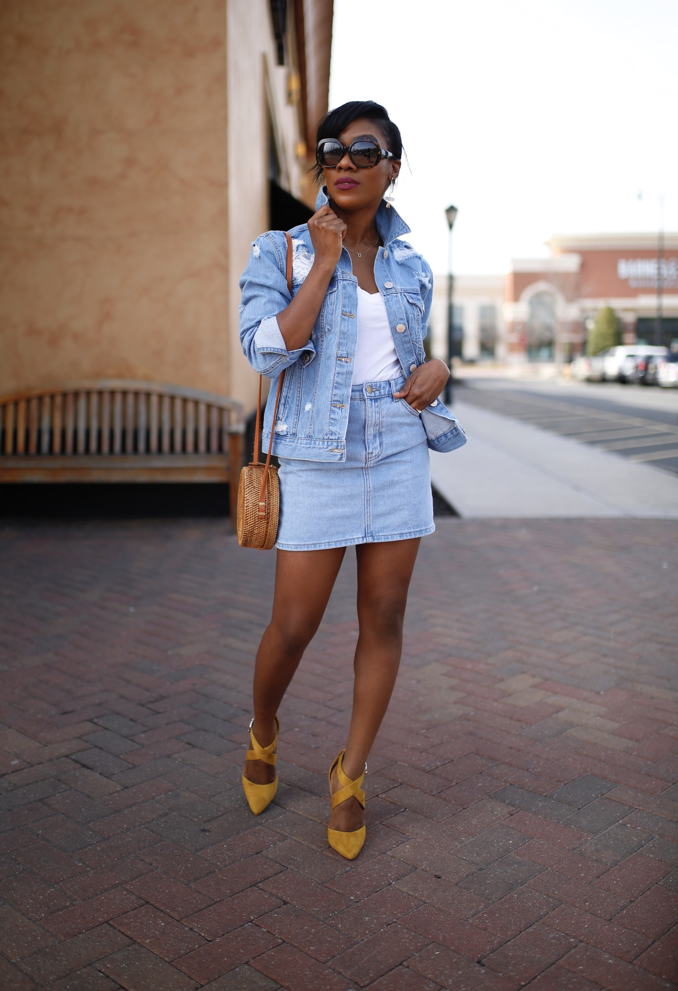 How to wear a denim jacket with a denim mini skirt! You'd love these three stylish ways. And guess what? You can recreate this style with pieces from your closet.