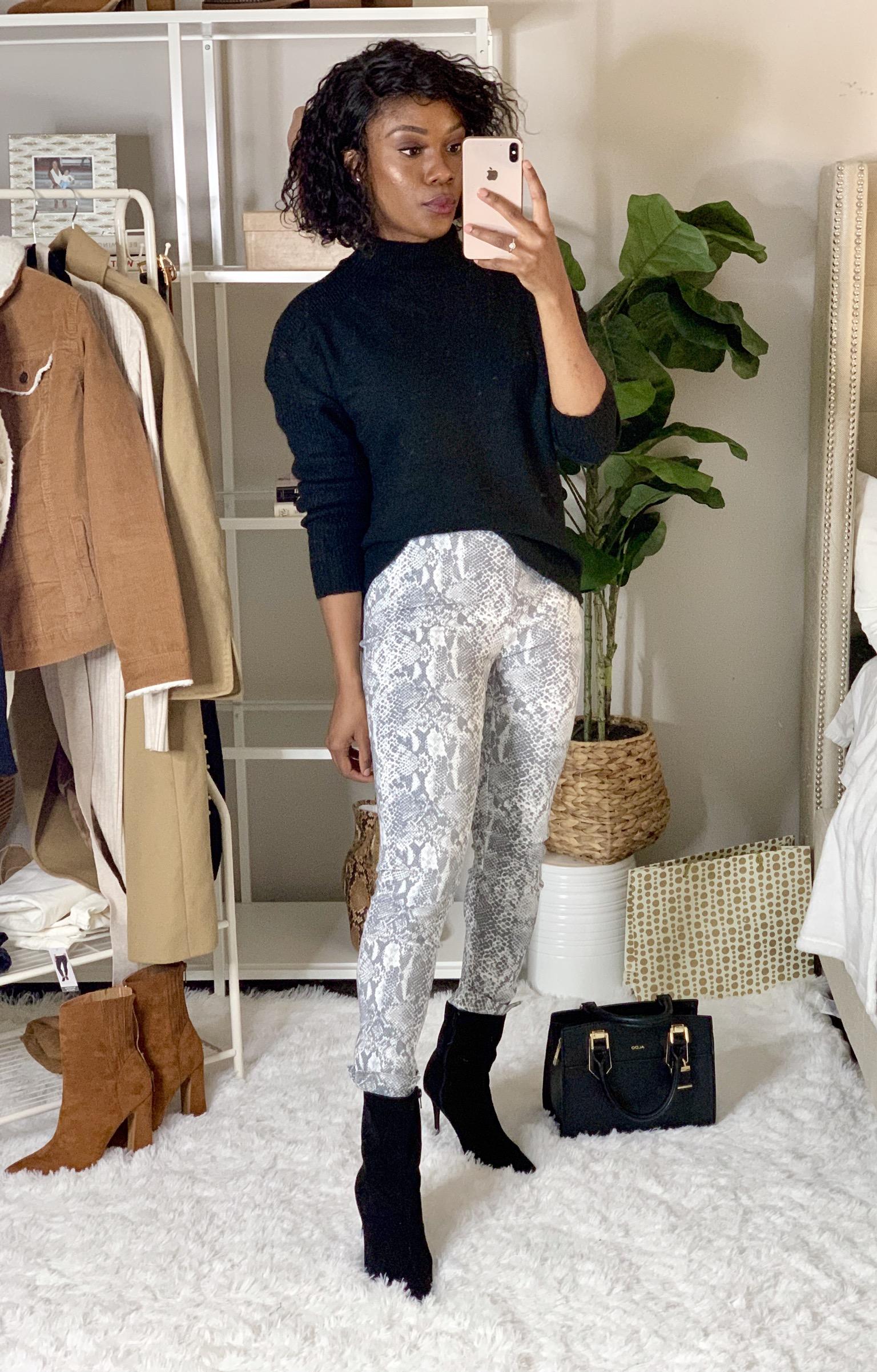 Walmart snakeskin leggings paired with Time & Tru turtleneck sweater
