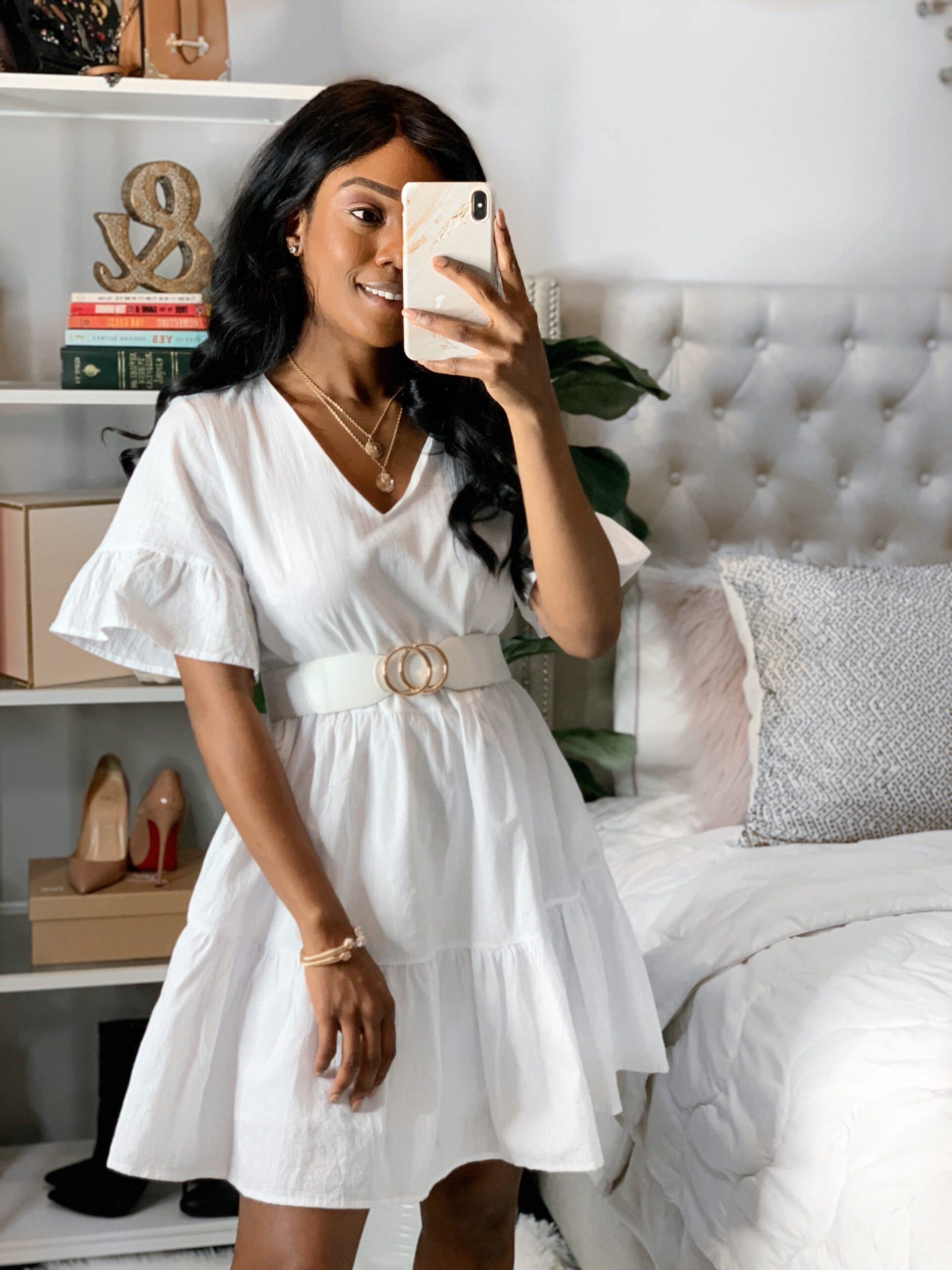 Amazon Fashion : women's white shift dress with side pocket and bell sleeves. Great for beach vacation and casual outing.