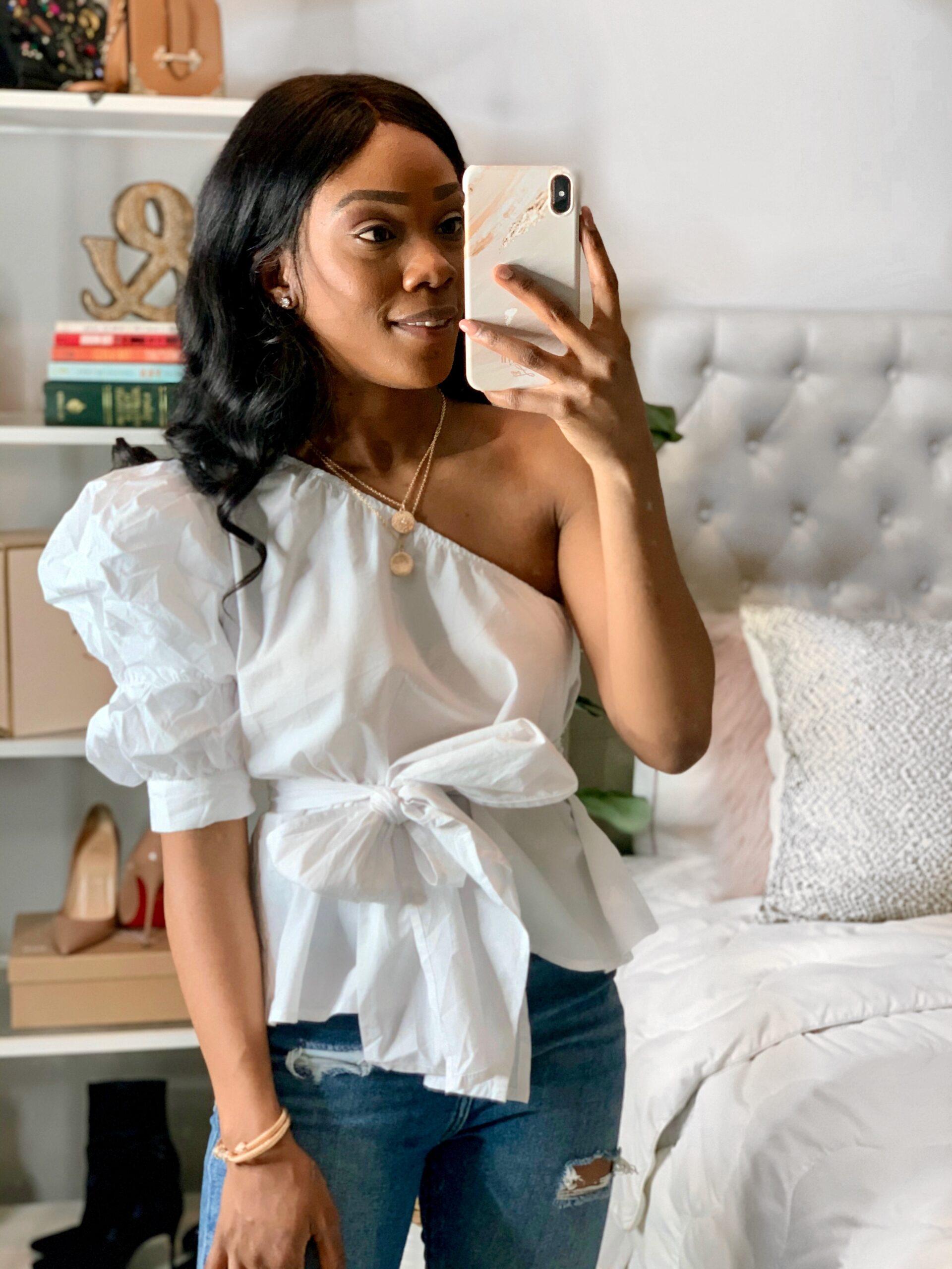Amazon Fashion Spring 2020   Women stylish white one shoulder puff sleeves top.