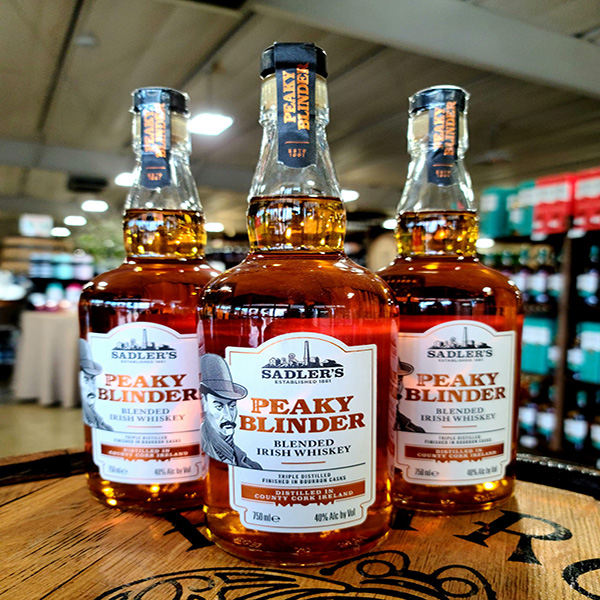 sadler's peaky blinder whiskey on barrel in store