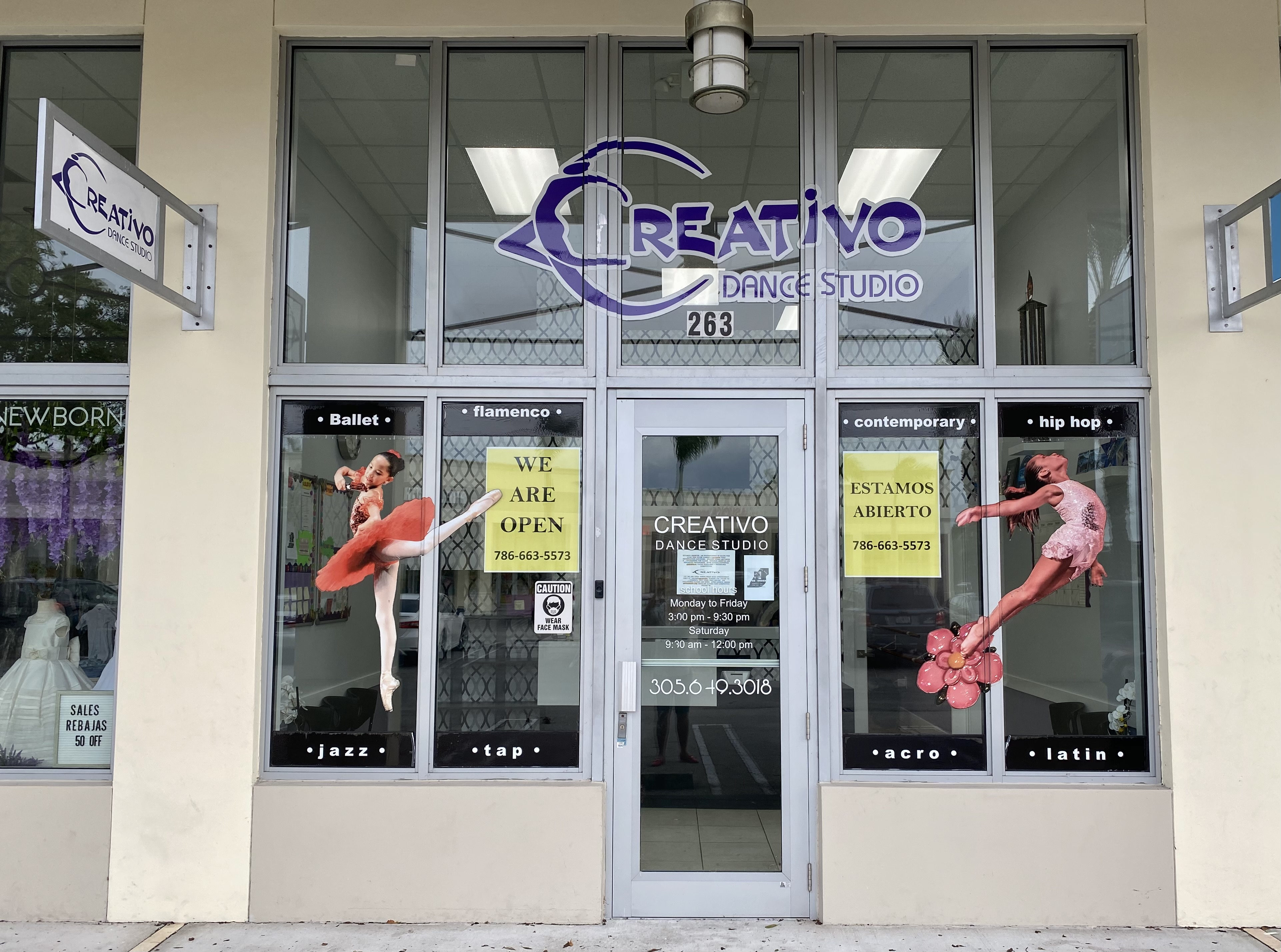 Storefront of Creativo Dance Studio on 82nd Avenue in Miami