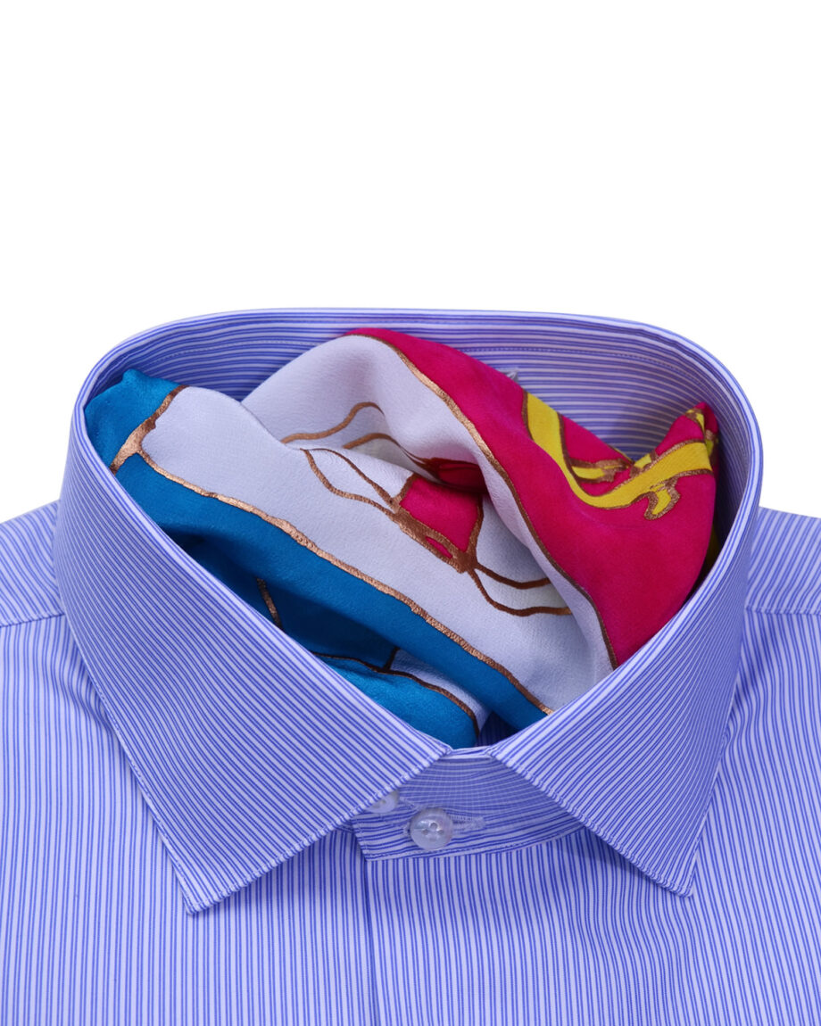 Stand Collar Tailored Fit Blue Striped Shirts