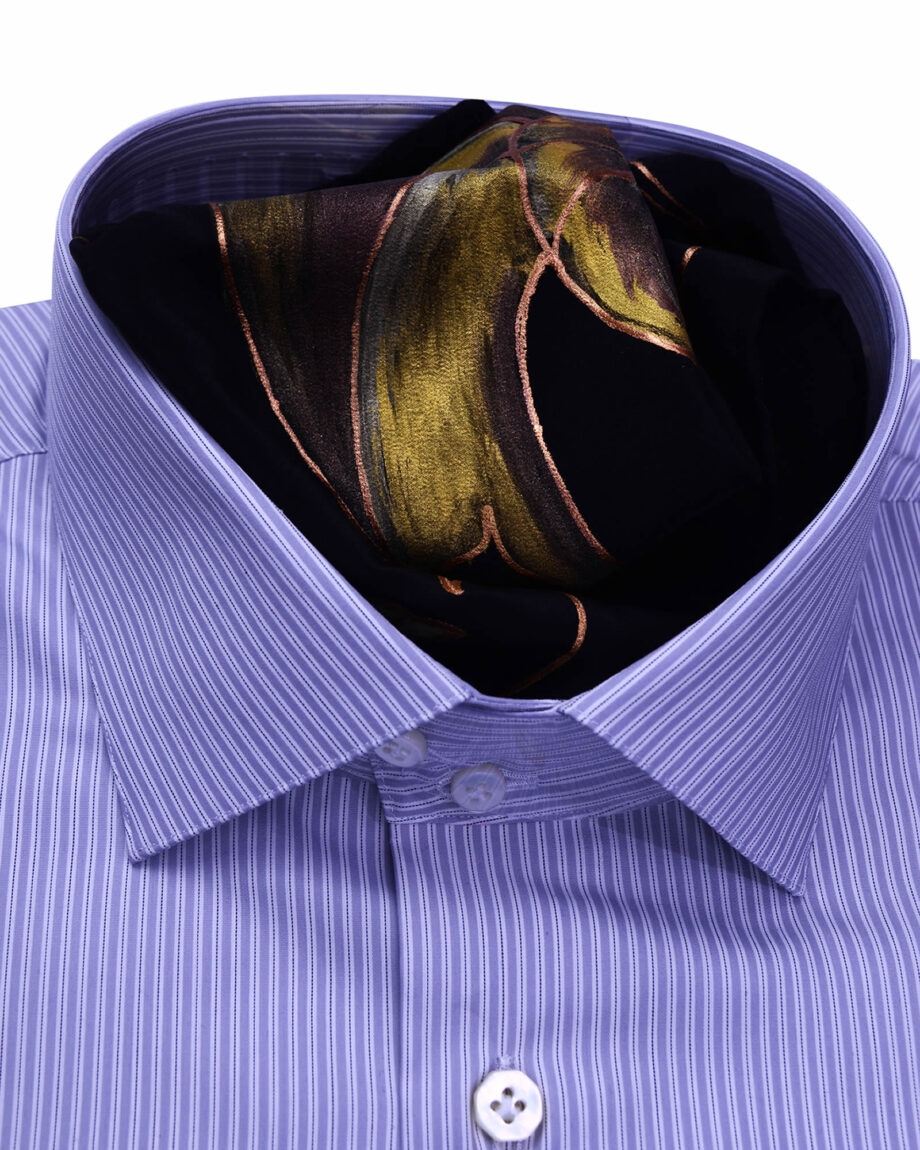 Stand Collar Tailored Fit Grey Striped Shirts