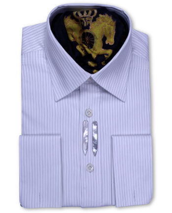 Spread Collar Tailored Fit Ivory textured Striped Shirts