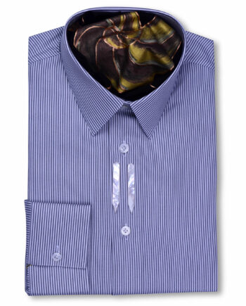 Classic Collar Tailored Fit Grey & White Striped Shirts