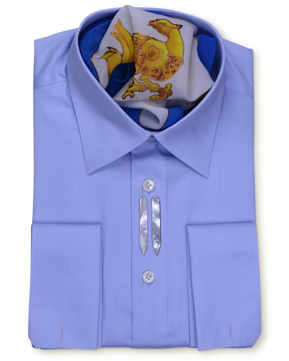 Spread Collar Tailored Fit Blue Shirts
