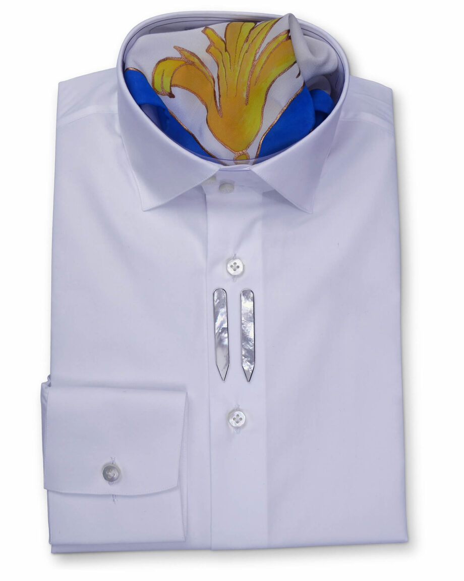Stand Collar Tailored Fit White Shirts