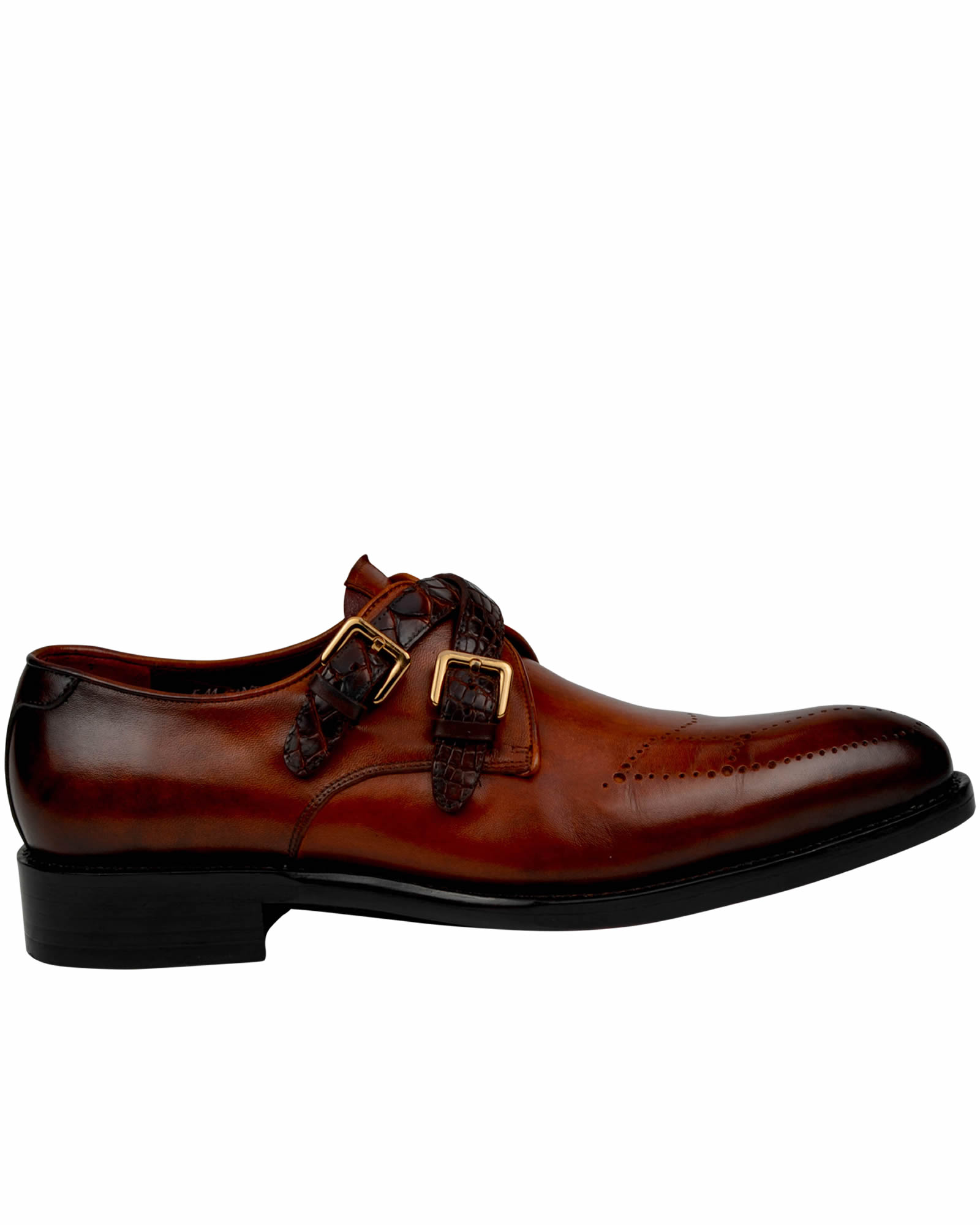 Burnished Brown Handmade Double Crocodile Straps Monk Shoes