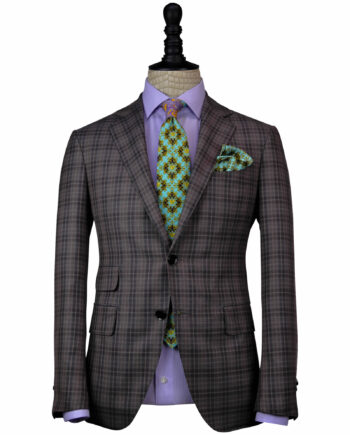 Hand-crafted Brown -Gray 13 Micron Exclusive Fabrics Plaid Suits