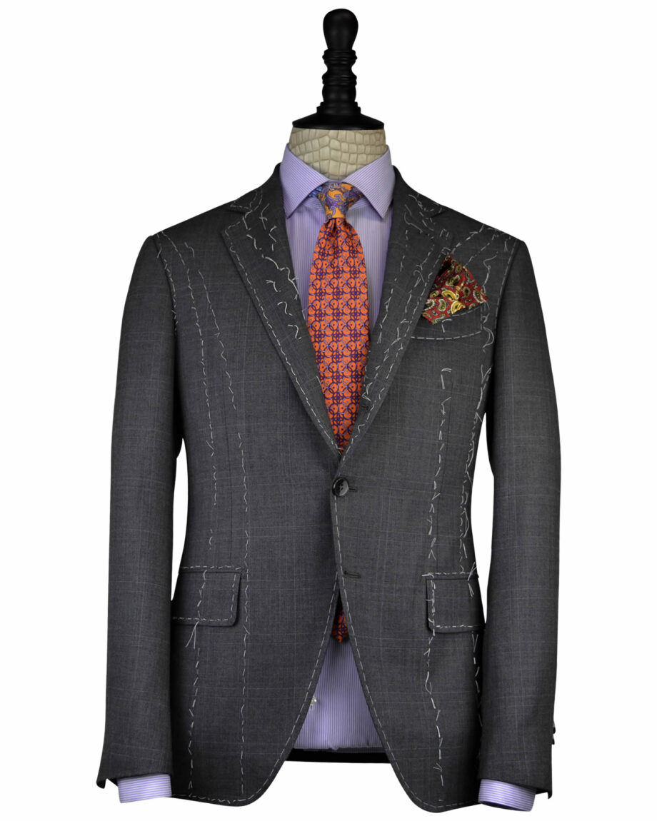 The Handcrafted Charcoal Grey Plaid Wool Neapolitan Suit