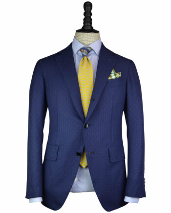 The Handcrafted Blue Dots Stripe 14 Micron Wool Neapolitan Shoulder Suit