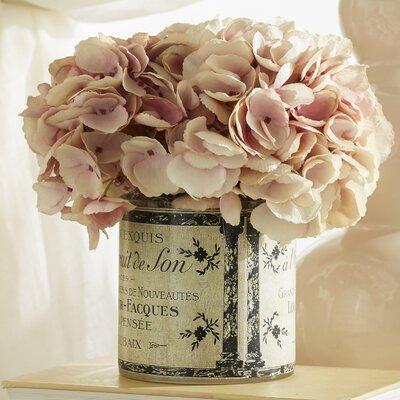 pink hydrangea in vintage tin