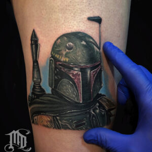 Best Realistic Boba Fett tattoo in Northridge, San Fernando Valley best MD Tattoo Studio California Mike DeVries