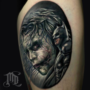 The Best Heath Ledger Joker tattoo in Northridge, San Fernando Valley best MD Tattoo Studio California Mike DeVries