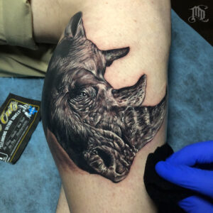 The Best Rhino Tattoo in Northridge, San Fernando Valley MD Tattoo Studio California Mike DeVries