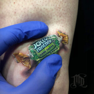Realistic 3D Jolly Rancher Tattoo Northridge San Fernando Valley best MD Tattoo Studio California Mike DeVries
