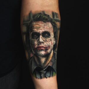 Best Color Joker Tattoo in Los Angeles Kyle DeVries