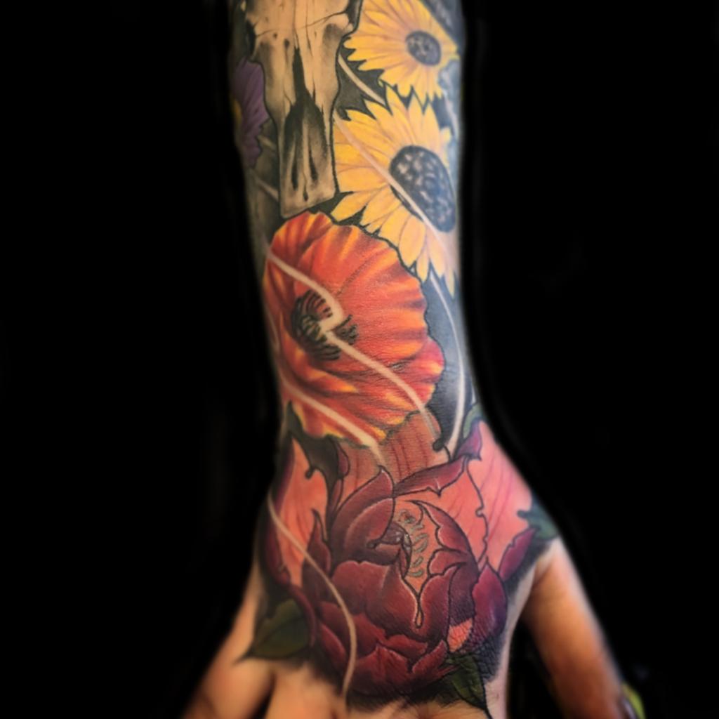 Best color floral tattoo in Los Angeles Matt Hildebrand