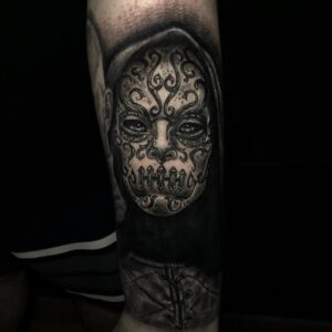 Best Death Eater Portrait Tattoo in Northridge California Kyle DeVries