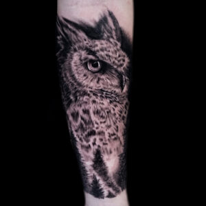 The Best Black And Gray Owl Tattoo in Los Angeles Kyle DeVries
