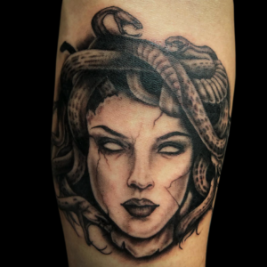Best Black And Grey Medusa Tattoo