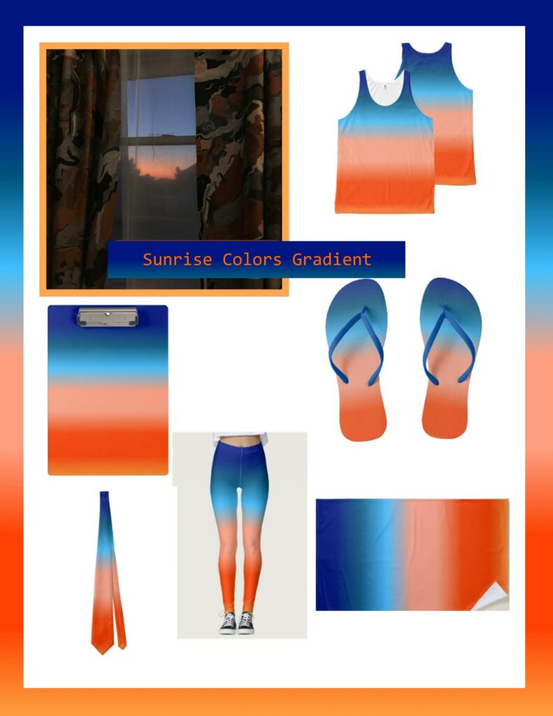 Good morning sunrise colors transformed into fashion wear and gift products.