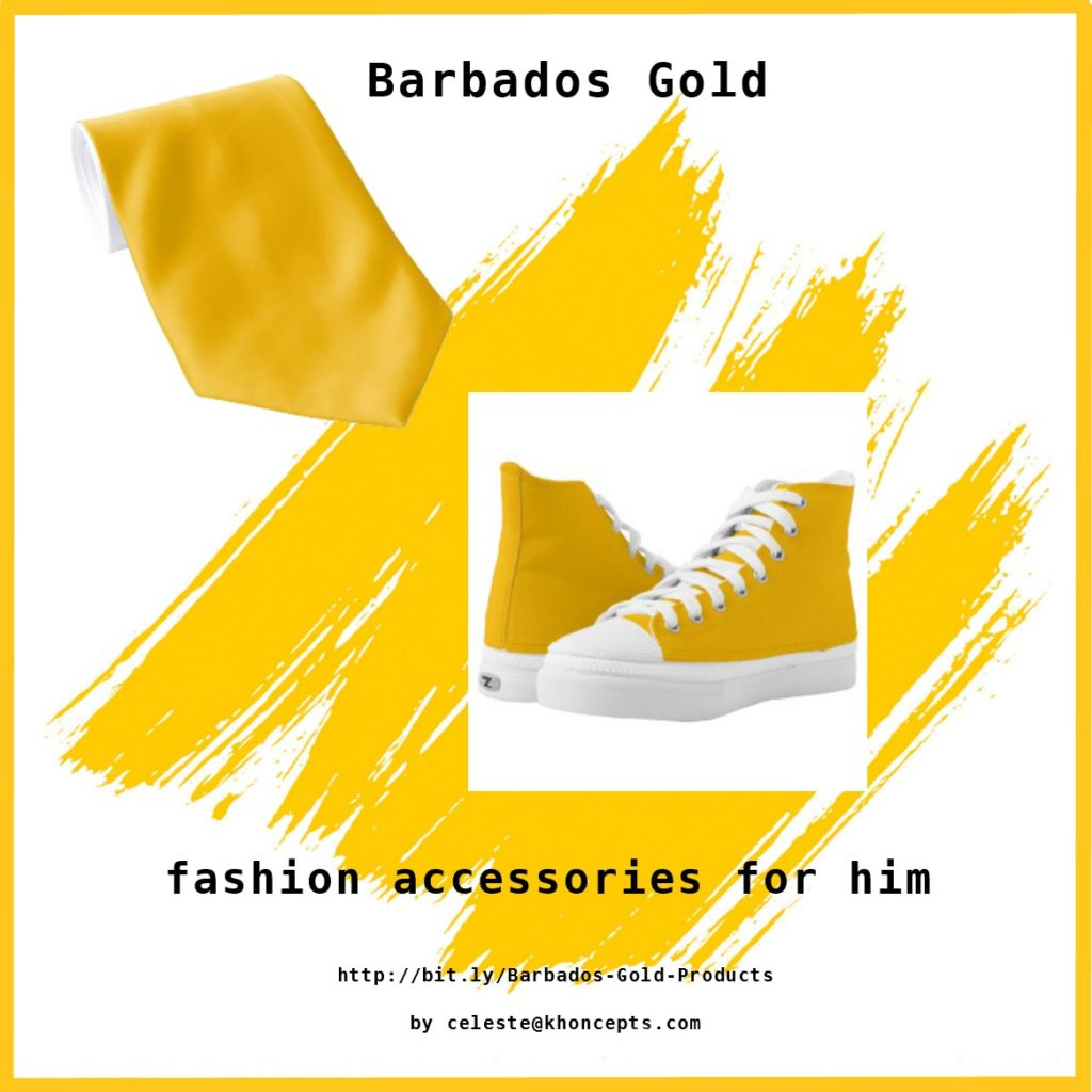 Gold high top sneakers and matching neck tie