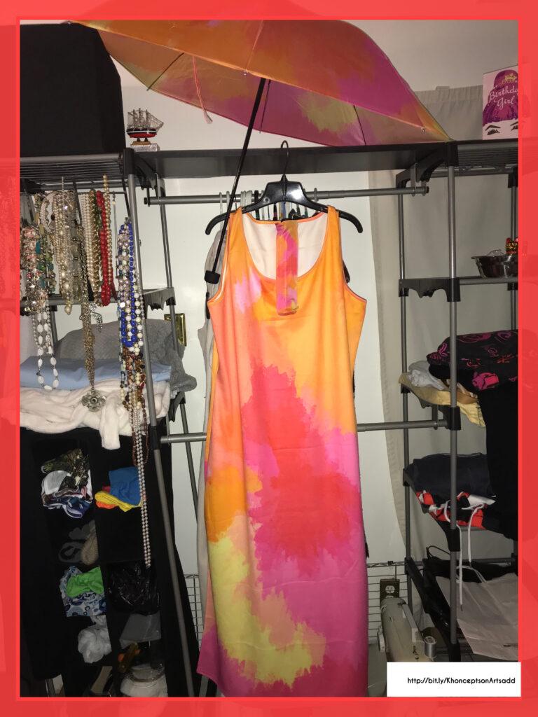 Pink watercolor maxi dress